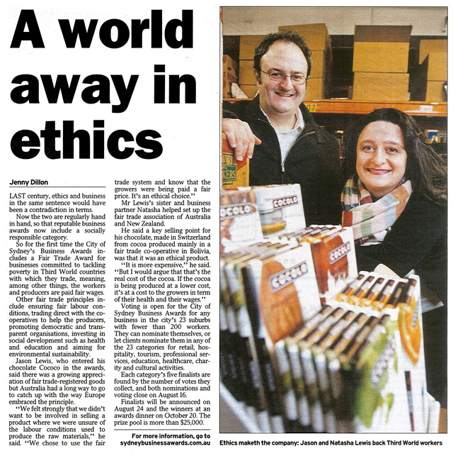 Daily Telegraph article about Cocolo